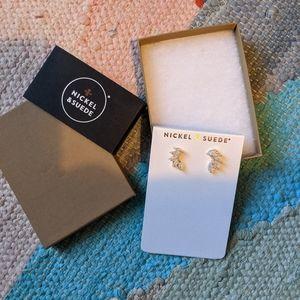 Nickel & Suede Marquis Earrings, New in Box